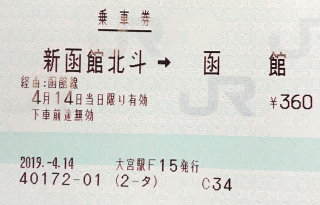 新函館北斗から函館の乗車券